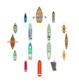 boat top view above over icons set cartoon style vector image vector image