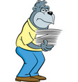 cartoon gorilla holding an armload of papers vector image vector image