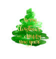 christmas tree watercolor texture silhouette vector image vector image