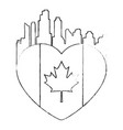 cityscape in heart with canadian flag vector image vector image
