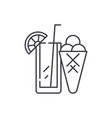 Cocktail and ice cream line icon concept cocktail