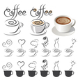 Coffee Cup Icons with Text and Smoke Ideas vector image