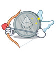 cupid ethereum coin character cartoon vector image