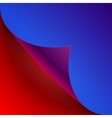 Curled colorful blue and red paper page corner vector image