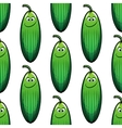 Cute green cucumber in a seamless pattern vector image