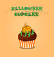 cute happy halloween chocolate cupcake with vector image vector image