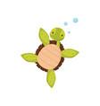 cute swimming turtle cartoon character of marine vector image vector image