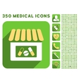 Drugstore Icon and Medical Longshadow Icon Set vector image