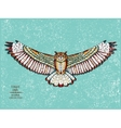 entangle stylized eagle owl sketch for tattoo vector image vector image