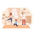 family home sport happy parents and daughter vector image