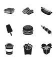 Fast food set icons in black style Big collection vector image vector image
