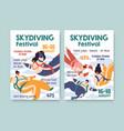 flyer design skydiving festival vertical vector image
