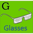 G letter alphabet Coloring book glasses vector image vector image