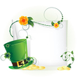 Green leprechaun hat and sheet of white paper vector image