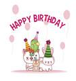 happy birthday pets cartoons vector image