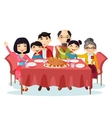 holiday dinner with turkey cartoon family vector image