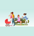 interracial family with newborn and girls waiting vector image vector image