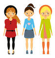 kids fashion beautiful cartoon girls in vector image vector image