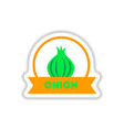 label icon on design sticker collection onion vector image vector image