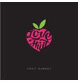 love fruit market logo or fresh fruit emblem vector image vector image