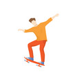 man in orange clothes riding fast on skateboard vector image