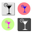 martini glass flat icon vector image vector image