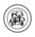 monochrome contour circle with family with vector image