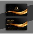 premium golden and black wavy business card design vector image vector image