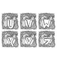 retro marine alphabet - u v w x y z vector image