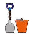 shovel tool and sand bucket vector image