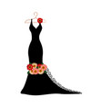 silhouette of a dress with flowers and lace vector image vector image