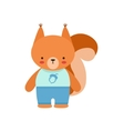 Squirrel In Blue Top With Acorn Print And Blue vector image vector image