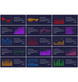 statistics and analytics banner information charts vector image vector image