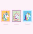 unicorns with rainbow hair dream fantasy cartoon vector image vector image