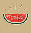 watermelon slice printed on yellow paper vector image vector image