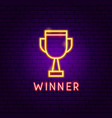 winner neon label vector image