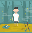 young character stuck in the swamp flat editable vector image vector image