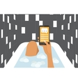 Woman in a bath chating with smartphone Flat vector image