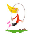 young girl jumping with jump rope flat design vector image