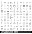 100 vegetables icons set outline style vector image vector image