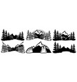 a set templates for badges with mountains and vector image