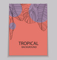 abstract tropical banana and monstera palm leaves vector image