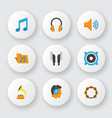 audio icons flat style set with voice listen vector image vector image