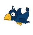 awesome cartoon flying crow vector image vector image