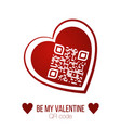 be my valentine text qr code in red heart on vector image vector image