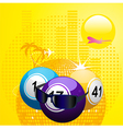 Bingo balls with sunglasses on summer background vector image vector image