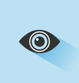body senses vision eye icon with shade on blue vector image vector image