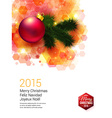 Bright Christmas card with realistic decoration vector image