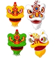 Cartoon Chinese lion head collection vector image vector image