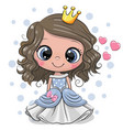 cartoon princess with hearts on a white background vector image